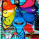 Colourful tear shaped blobs - Graffiti - Street Art by NicNik Designs
