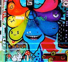 Colourful tear shaped blobs - Graffiti - Street Art by NicNik Designs