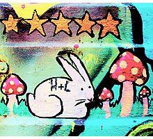 Happy bunny rabbit - Graffiti - Street Art Photographic Print