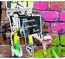 Terrorists in suits - Graffiti - Street Art Photographic Print