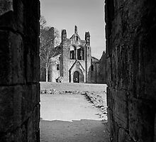Kirkstall Abbey Through The Ruins (B&W) by Tim Waters
