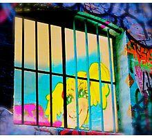Melbourne Graffiti Street Art - Girl in Jail Photographic Print