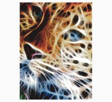 Fractal Cheetah Face Design By Chris McCabe - DRAGAN GRAFIX One Piece - Short Sleeve