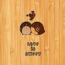 Bamboo Look Engraved Sweet Love Birds Valentine's Day by scottorz