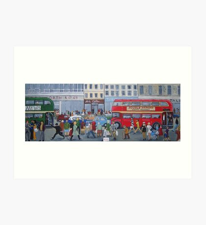 Bus-y On The High Street In The Swingin Sixties Art Print