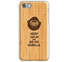 Bamboo Look & Engraved Keep Calm and Go Go Gorilla iPhone Case/Skin