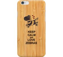 Bamboo Look & Engraved Keep Calm and Love Zebras iPhone Case/Skin
