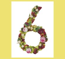 The number six Part of a set of letters, Numbers and symbols of the Alphabet made with flowers Kids Tee