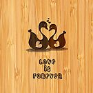 Bamboo Look Engraved Swan Heart Valentine's Day by scottorz