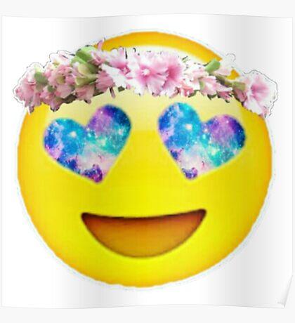 Flower Crown Galaxy Eyes Emoji Poster