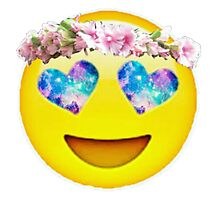 Flower Crown Galaxy Eyes Emoji Photographic Print