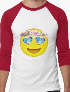 Flower Crown Galaxy Eyes Emoji Men's Baseball ¾ T-Shirt