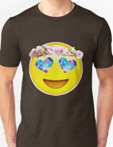 Flower Crown Galaxy Eyes Emoji Unisex T-Shirt