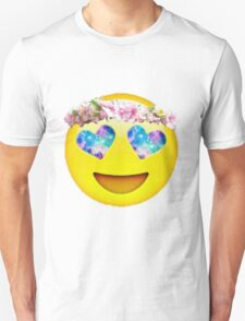 Flower Crown Galaxy Eyes Emoji Unisex T-Shirt