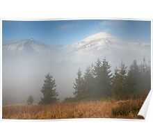 Foggy morning in mountains Poster