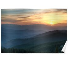 Sunset over mountains Poster