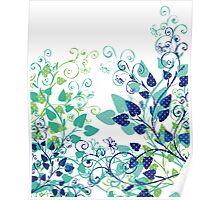 Floral Spring Blue Poster