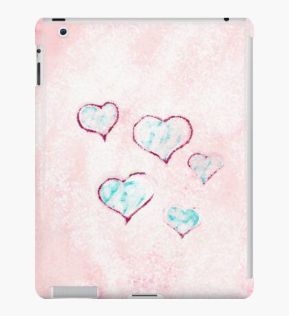 Blue - red hearts on pink - white snow iPad Case/Skin