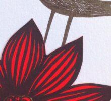 Red flower & bird Sticker