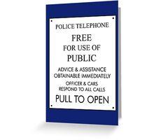 Tardis Sign/ Policebox Notice Greeting Card