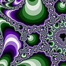 "Purple and Green Fractal Swirls by Christine ""Xine"" Segalas"