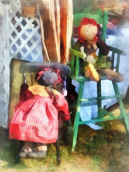 Two Rag Dolls at Flea Market by Susan Savad