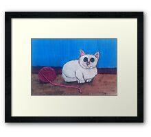 Cat and Yarn Framed Print
