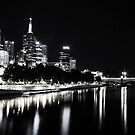Melbourne At Night - Southbank by Bevlea Ross