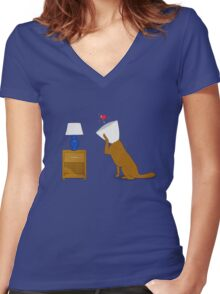 Dog In Love Women's Fitted V-Neck T-Shirt