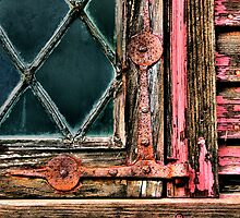 Latticed Window and Weathered Wood by Carrie Blackwood