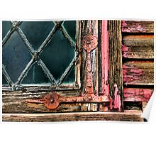 Latticed Window and Weathered Wood Poster