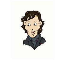 sherlock bbc cumberbatch cartoon Art Print