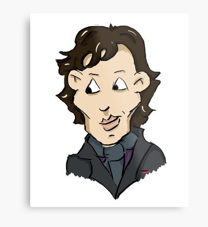 sherlock bbc cumberbatch cartoon Metal Print