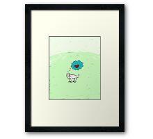 Lonely dog on green landscape Framed Print