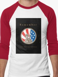 Memorial Day Greeting Card American WWII Soldier Flag Men's Baseball ¾ T-Shirt