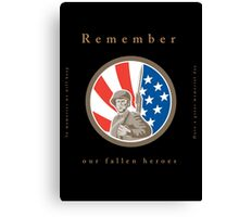 Memorial Day Greeting Card American WWII Soldier Flag Canvas Print