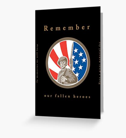 Memorial Day Greeting Card American WWII Soldier Flag Greeting Card