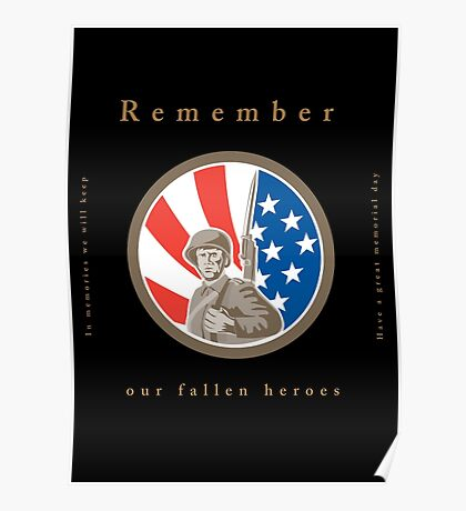 Memorial Day Greeting Card American WWII Soldier Flag Poster