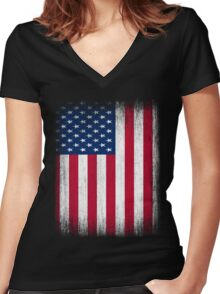Vintage USA Flag Women's Fitted V-Neck T-Shirt