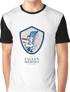 Memorial Day Greeting Card American Soldier Waving USA Flag Graphic T-Shirt