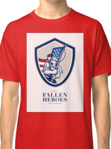 Memorial Day Greeting Card American Soldier Waving USA Flag Classic T-Shirt