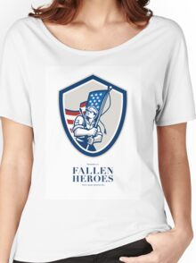 Memorial Day Greeting Card American Soldier Waving USA Flag Women's Relaxed Fit T-Shirt