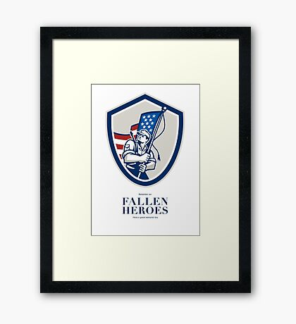 Memorial Day Greeting Card American Soldier Waving USA Flag Framed Print