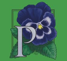P is for Pansy - small patch One Piece - Short Sleeve