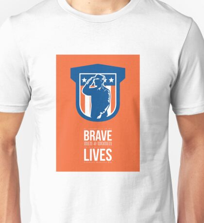 Memorial Day Greeting Card Miilitary Serviceman Salute Shield Unisex T-Shirt