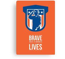 Memorial Day Greeting Card Miilitary Serviceman Salute Shield Canvas Print