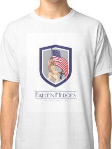 Memorial Day Greeting Card Soldier Military Holding Flag Rifle Classic T-Shirt