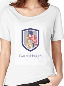 Memorial Day Greeting Card Soldier Military Holding Flag Rifle Women's Relaxed Fit T-Shirt