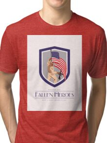 Memorial Day Greeting Card Soldier Military Holding Flag Rifle Tri-blend T-Shirt
