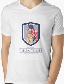 Memorial Day Greeting Card Soldier Military Holding Flag Rifle Mens V-Neck T-Shirt